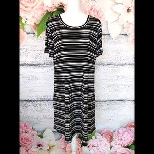 Kenneth Cole Black White Striped Tee Dress XL (14)